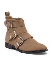 New in Box RESTRICTED Taupe 3-Buckle Bestie Bootie Ankle Boots Faux Sued... - $49.49