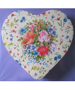 Victorian Style Floral Heart Storage Tin Lace Motif on Sides - $7.50
