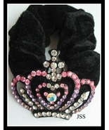 Pink Purple Clear Crown Hair Scrunchie - $7.00