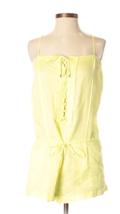 NWT Diane von Furstenberg NEW AYDEN Romper Acid Lime Lace-Up Bodice Linen S - $88.11