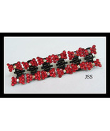 Set of 6 Hot Red Little Bows Hair Clips - $7.00