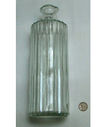 "Vintage 9.5"" Clear Ribbed Glass Wine Liquor Decanter Bottle No Stopper - $39.58"