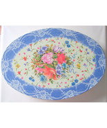Victorian Style Floral Oval Storage Tin with Lace Accents - $7.50