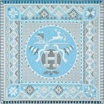 Hermes Scarf Stole AU COIN DU FEU Dimitri Rybaltchenko Sky Blue Silk New... - $608.28