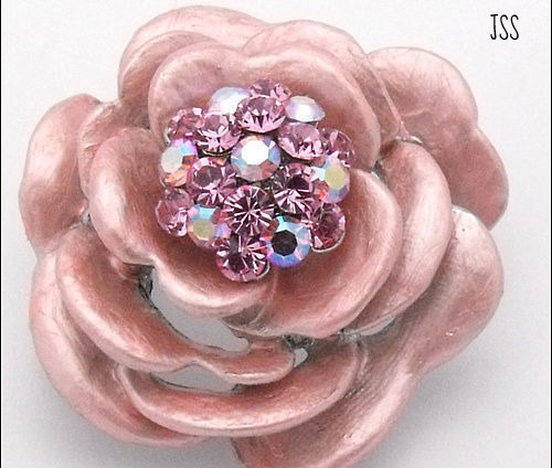 Jss pink crystal rose flower pin brooch enamel  1