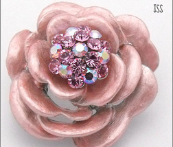 Jss pink crystal rose flower pin brooch enamel  1 thumb200