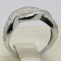 SOLID 18K WHITE GOLD BAND ZIRCONIA RING, ONDULATE, TWISTED, BRAID, MADE IN ITALY image 2