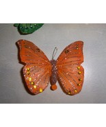Orange Glitter Feathered Butterfly Clip - $7.95