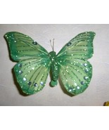 Green Glitter Feathered Butterfly Clip - $7.95
