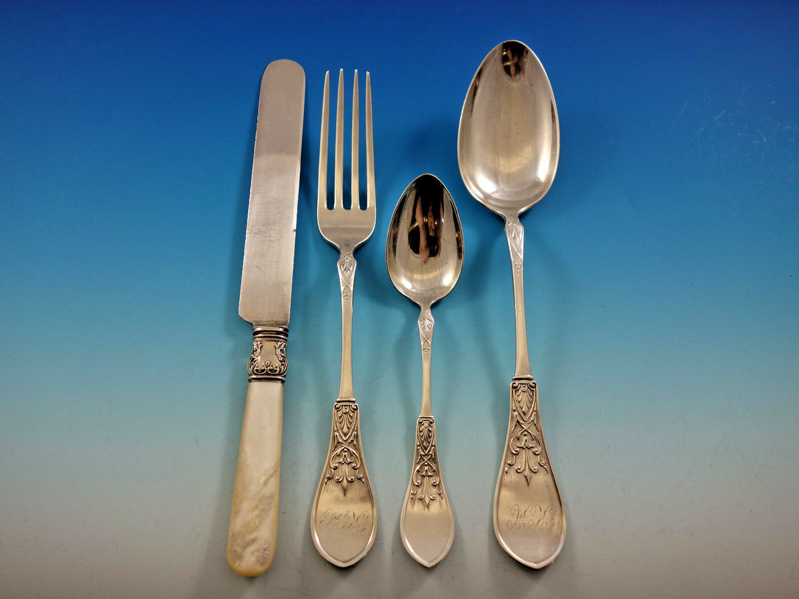 Gem by Schulz and Fischer Sterling Silver Flatware Set 36 pieces California image 2