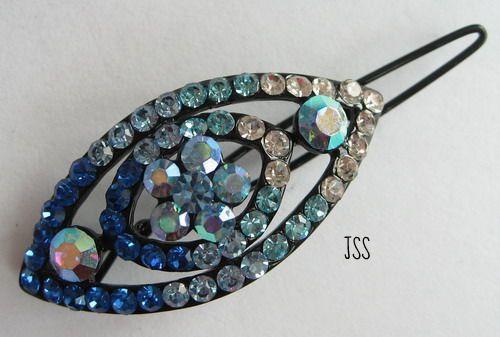 Jss blue oval barette brooch