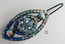 Jss blue oval barette brooch thumb200