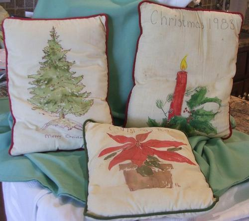 Christmas Tree Candle and Poinsetta Handpainted Pillows