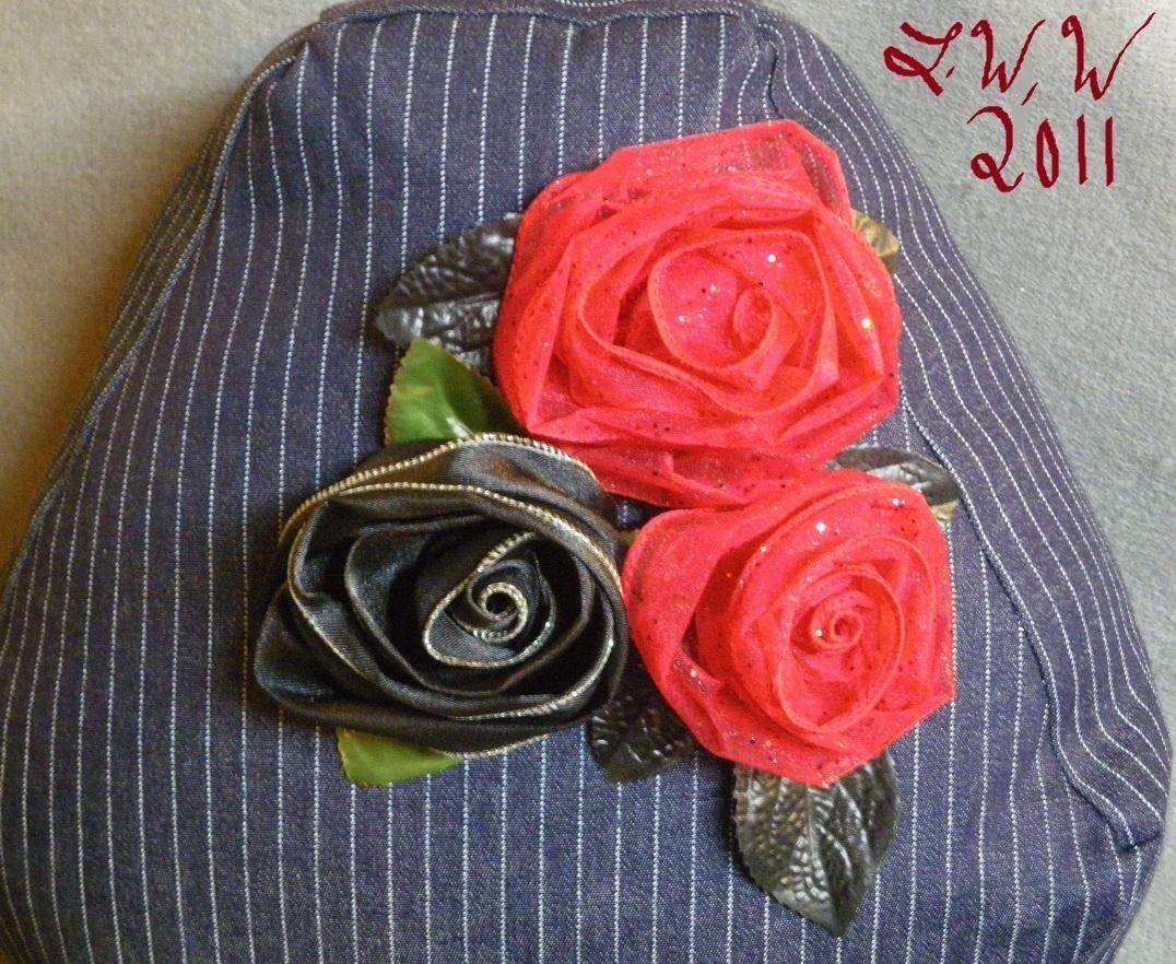 Handmade Navy Blue Pin-striped Denim Black Red Rose Coffin Gothic Throw Pillow