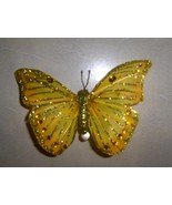 Yellow Giltter Feathered Butterfly Clip - $7.95