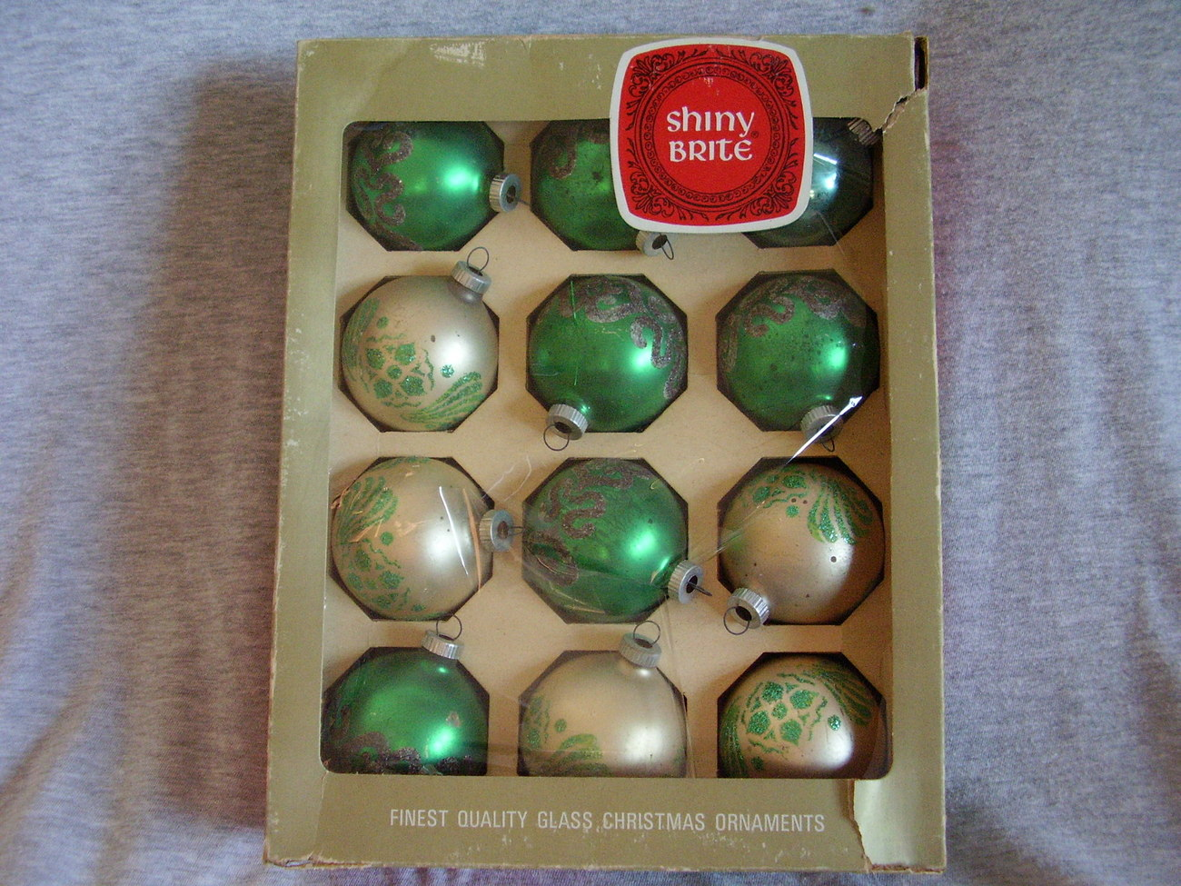 Primary image for Vintage Christmas Large Shiny Brite Glass Mica Stencil Ornaments