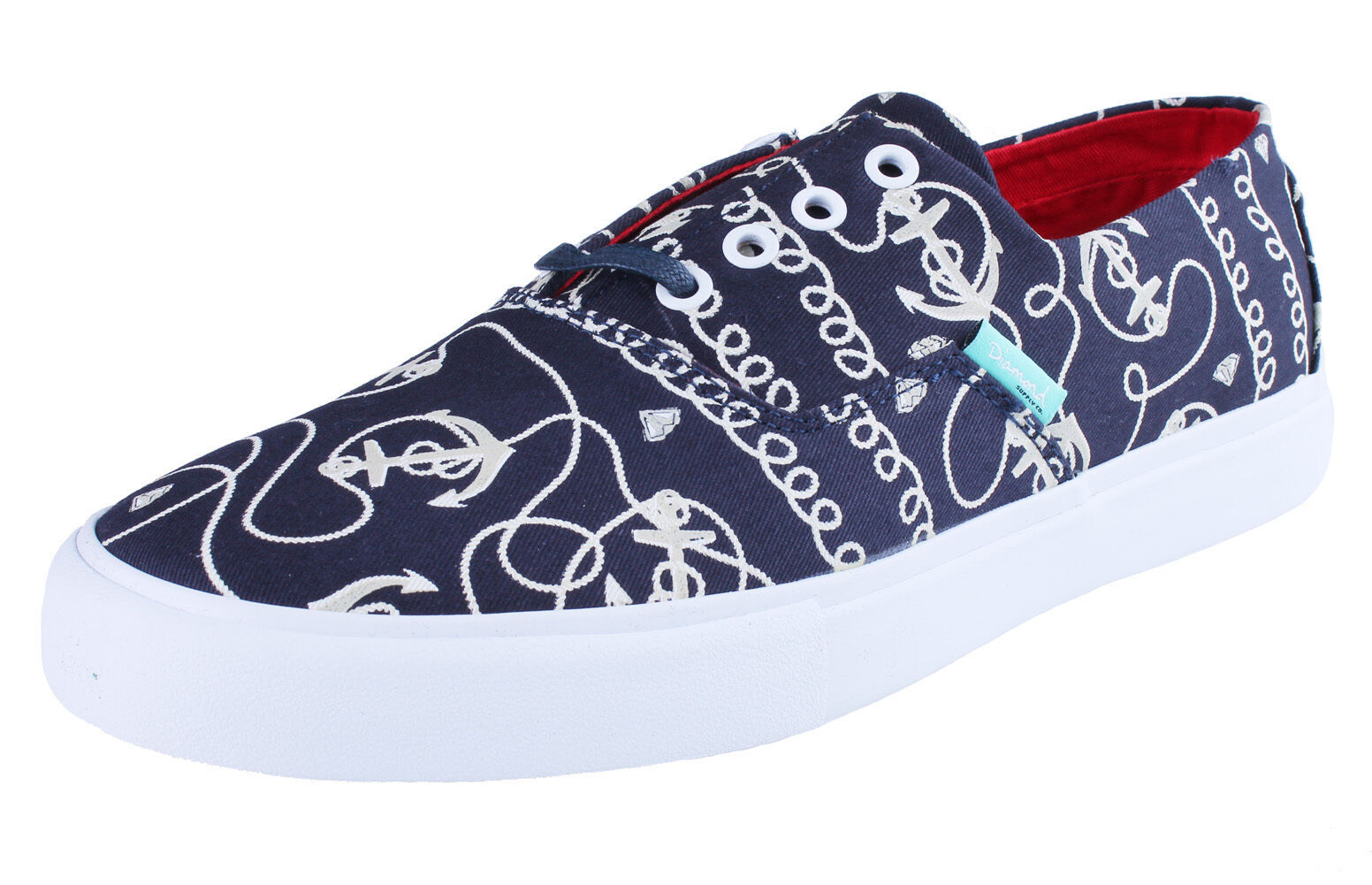 Diamond Supply Co Diamond Cuts Navy Anchors Canvas Sneakers Boat Shoes B14-F103