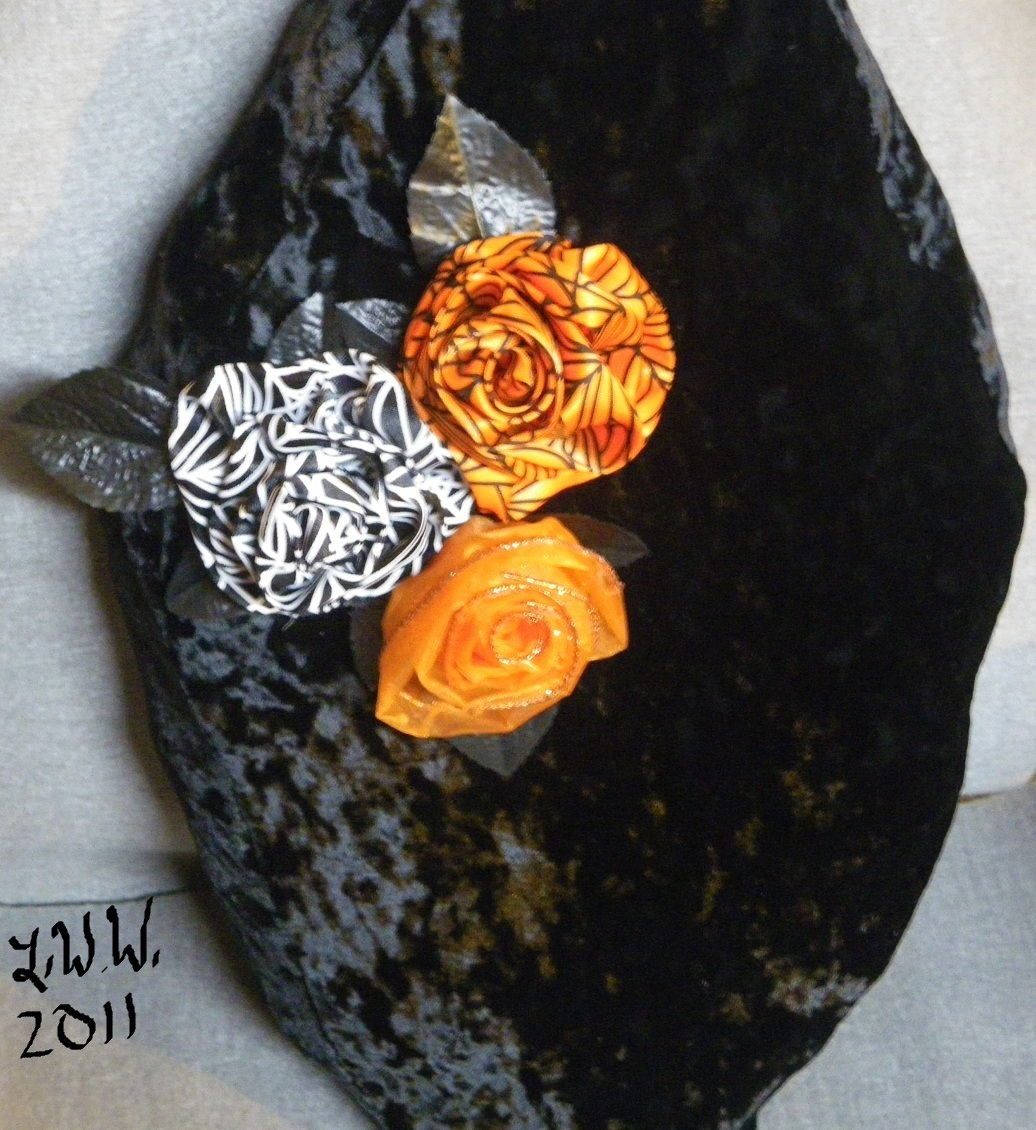 Handmade Crushed Black Velvet Gothic Rose Halloween Coffin Casket Throw Pillow