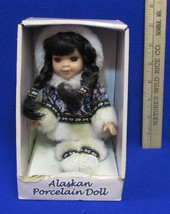 Alaskan Girl Porcelain Doll Native Style Hand Crafted w/ Eskimo Style Pa... - $12.86