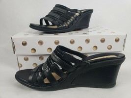 Earth Gardenia Womens Shoes Sz 8 Leather Black Wedge Slide Slip on Sanda... - $39.67