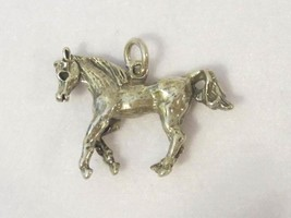 Vintage Sterling Silver - 3D Galloping Horses Charm Pendant  - $24.00