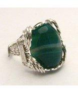 Wire Wrap Green/White Sardonyx 925 Silver Ring  - $51.00
