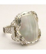 Wire Wrap Mother of Pearl 925 Silver Ring  free... - $51.00
