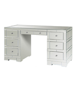 "57"" W, 7 DRAWER BEVELED MIRRORED DESK or VANITY, Hollywood Regency or GLAM, NEW! - $2,599.00"