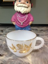 VINTAGE WHITE GLASS GOLD RIM COFFEE CUP - $1.99