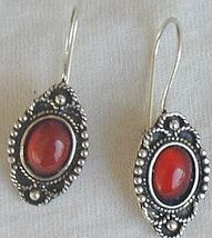 Mini red glass earrings - $12.00