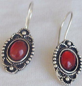 Mini red glass earrings