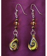 New Handcrafted Dichroic Glass Earrings With Fa... - $17.99