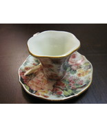 Christmas Ornament China Chintz Tea Cup Teacup  Saucer - $5.59