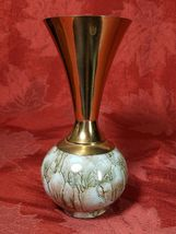 Delft Holland Hand Painted Bud Vase Pearlescent Blue W/ Brass Mid Century image 3