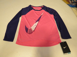 Nike Dri Fit active L/S shirt toddler girls 2T 26A252 AA6 Pink Pow Swoos... - $15.51