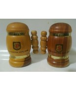 Yellowstone Park Salt and Pepper Shakers Wooden Containers, Handles - So... - $13.58 CAD