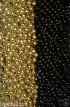 48 Black Gold Mardi Gras Beads Saints Steelers Playoffs Football Tailgat... - $13.62