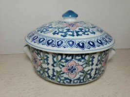 Asian Porcelain Blue Green Pink Flow Floral Covered Dish Bowl w/Handles ... - $31.68