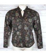 Autograph New York Button Down Shirt Women's L Brown Floral Embellished ... - $15.29