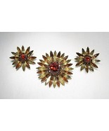 Vintage Orange Green Brown Rhinestone Flower Brooch & Earrings Set C2569 - $24.09
