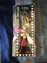 Keychain Tassel Charm Hearts Gold Red Pink White Bling NEW Gift - $4.46