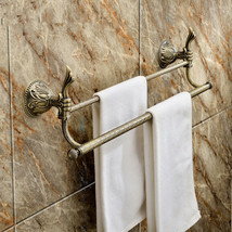 """Antique brass Classic bathroom brass double towel bar With flowers  26""""L... - $78.21"""