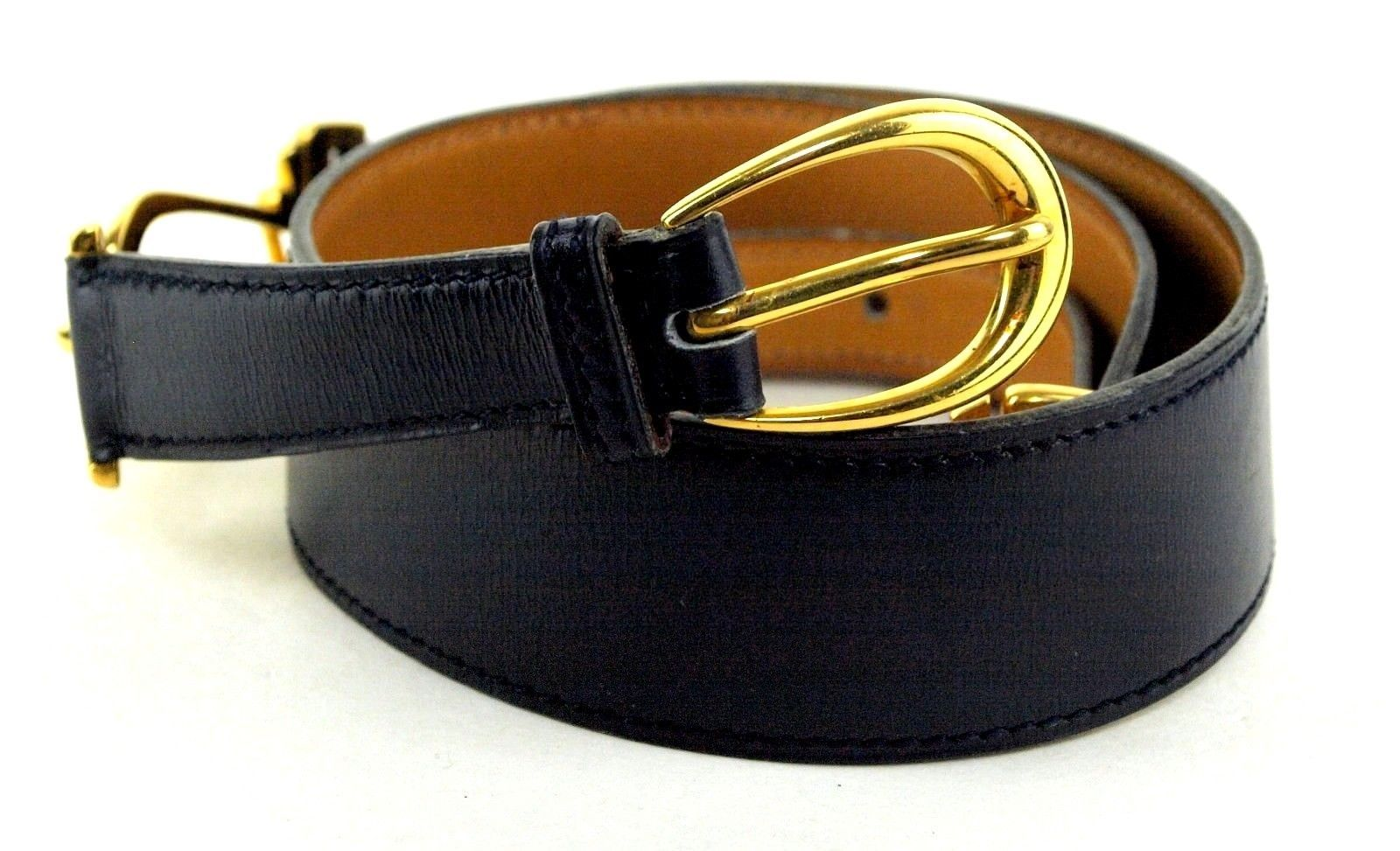 Auth HERMES Paris Gold Tone Metal Buckle Navy Leather Belt Size 76 cm France