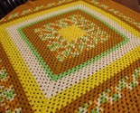 "Vintage Afghan Blanket GRANNY Handmade Crochet autumn Throw 49""x48"" square"
