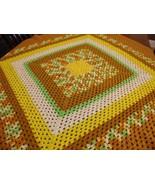 "Vintage Afghan Blanket GRANNY Handmade Crochet autumn Throw 49""x48"" square - $20.29"