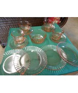 Beautiful 13 piece CAKE-LUNCHEON Set Pink Swirl Glass from MEXICO - $32.98