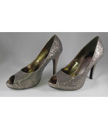 Sparkling Silver Lulu Townsend Stiletto Heels Open Toe Shoes Pumps Size 8.5 - $29.95