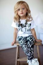 Toddler girl zebra stripe white t-shirt + pant outfit - $9.98