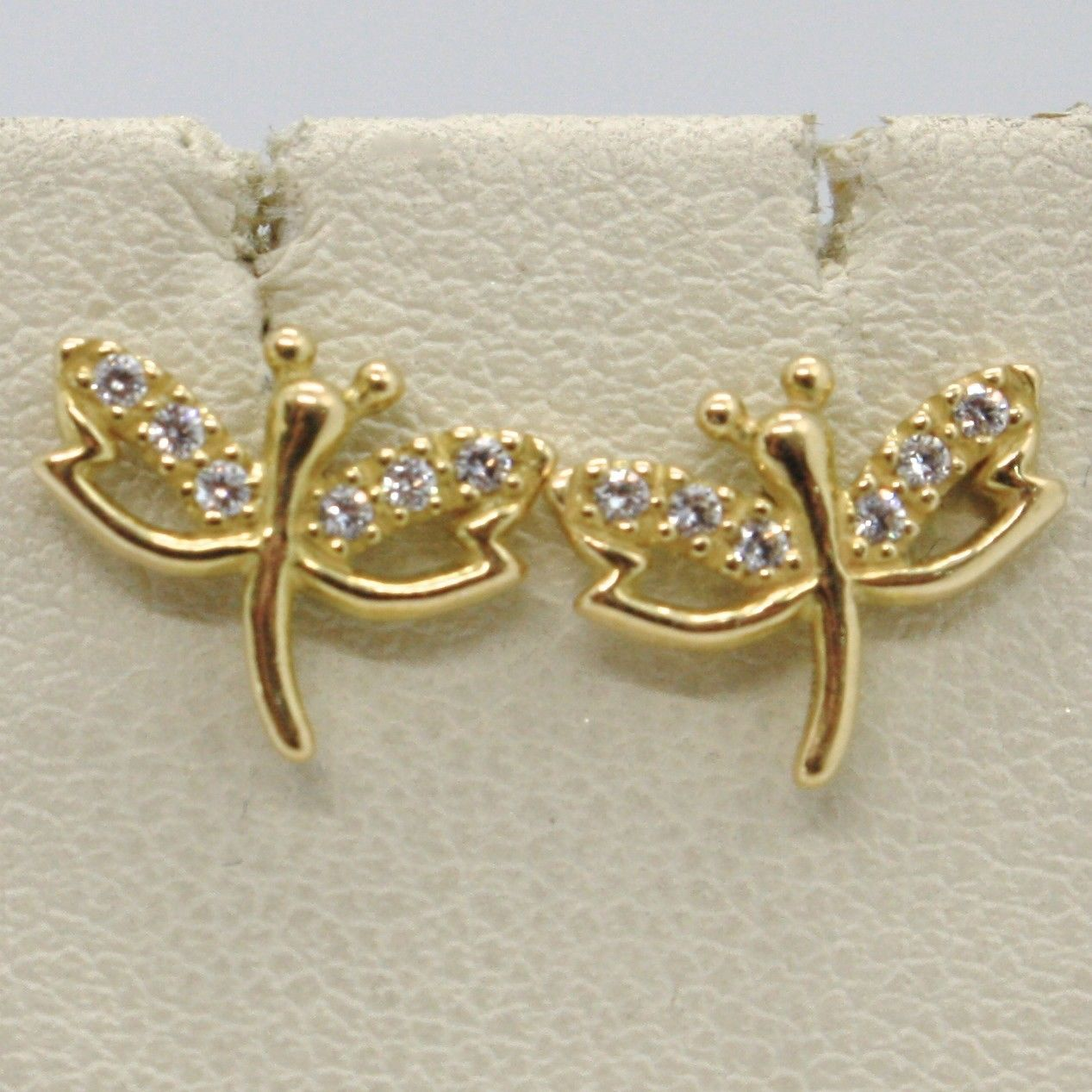 SOLID 18K YELLOW GOLD EARRINGS DRAGONFLY & ZIRCONIA DIAMETER 10 MM MADE IN ITALY