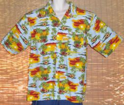 Caribbean Joe Hawaiian Shirt Blue Red Gold Sunsets Palm Trees Flowers  S... - $24.95